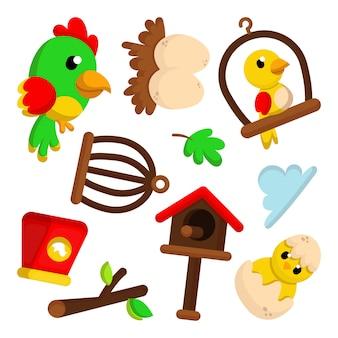 Ilustracja komplet znaków ładny ptak i element stylu cartoon