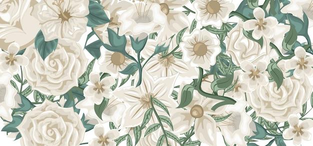 Ilustracja kompozycja białych kwiatów