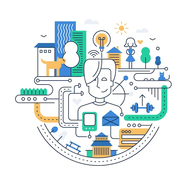 Ilustracja kompozycji miasta nowoczesnej linii z peolpe, budynkami i innymi elementami infografiki