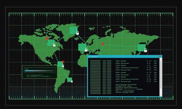Ilustracja komputer hackowanie kod