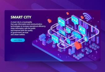 Ilustracja komunikacji inteligentnego miasta