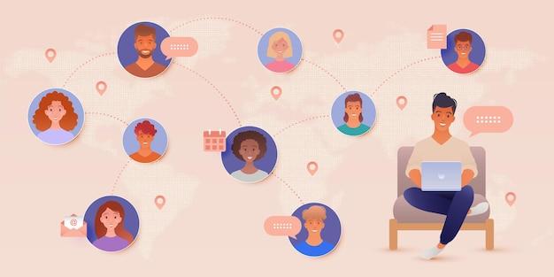 Ilustracja komunikacji online z mężczyzną korzystającym z laptopa łączącego się z ludźmi