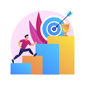 Ilustracja koncepcja abstrakcyjna ambicji. biznesowa ambicja, determinacja, stawianie sobie wielkich celów, robienie szybkiej kariery, pewność siebie, zdobywanie tego, czego chcesz, chęć na sukces