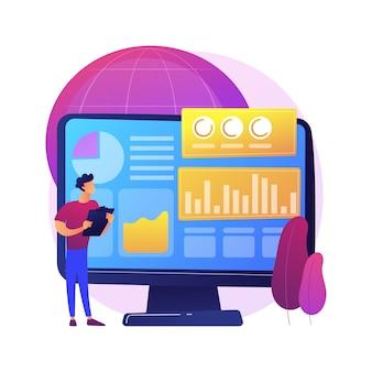 Ilustracja koncepcja abstrakcyjna analizy danych środowiska. cyfrowa analityka środowiskowa, technologia danych ekologicznych, zagadnienia środowiskowe, obserwacja ziemi, globalny biznes