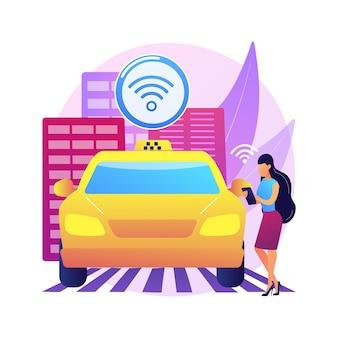 Ilustracja koncepcja abstrakcyjna autonomicznych taksówek. taksówka prowadząca się samodzielnie, serwis samochodowy na żądanie, transport bez kierowcy, samochód autonomiczny, posiadanie alternatywnego pojazdu, podróże służbowe.