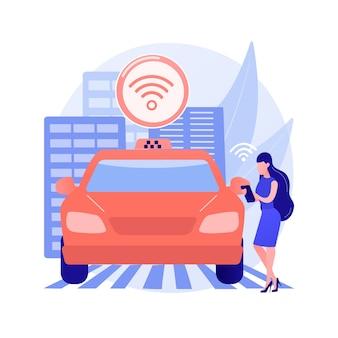 Ilustracja koncepcja abstrakcyjna autonomicznych taksówek