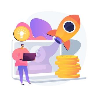 Ilustracja koncepcja abstrakcyjna biznesu online. możliwość biznesowa, start-up online, platforma e-commerce, marketing internetowy, sprzedaż w mediach społecznościowych, promocja, agencja cyfrowa