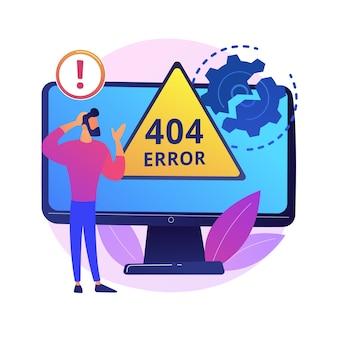 Ilustracja koncepcja abstrakcyjna błędu. błąd strony internetowej, błąd pobierania przeglądarki, nie znaleziono strony, żądanie serwera, niedostępność, problem z komunikacją z witryną.