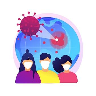 Ilustracja koncepcja abstrakcyjna covid-19. koronawirus na całym świecie, pandemia, ofiary covid-19, wybuch infekcji, statystyki, liczba ofiar śmiertelnych, stan wyjątkowy, kwarantanna.