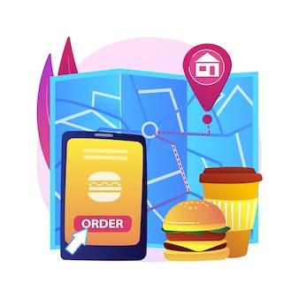 Ilustracja koncepcja abstrakcyjna dostawy żywności. wysyłka produktów podczas koronawirusa, bezpieczne zakupy, usługi samoizolacji, zamówienia online, pobyt w domu, dystans społeczny