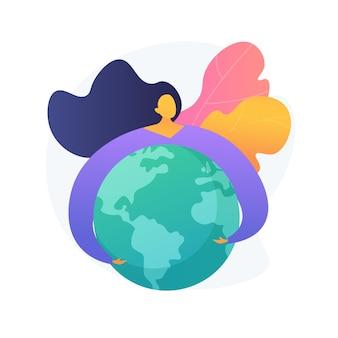 Ilustracja koncepcja abstrakcyjna dzień ziemi. obchody światowego dnia ziemi, aktywizm ekologiczny, ochrona planety, zmiana klimatu, międzynarodowe wydarzenie ekologiczne, matka natura