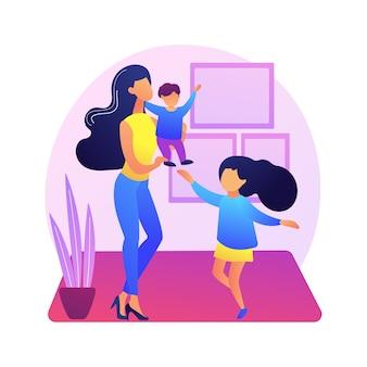Ilustracja koncepcja abstrakcyjna jednego rodzica. samotna mama z tańczącymi dziećmi