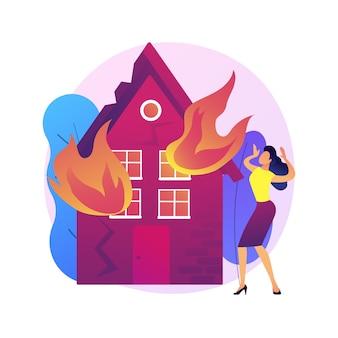 Ilustracja koncepcja abstrakcyjna konsekwencji pożaru. konsekwencje pożarów, ofiar pożaru, obliczenia strat majątkowych i gospodarczych, usługa wyceny szkód,
