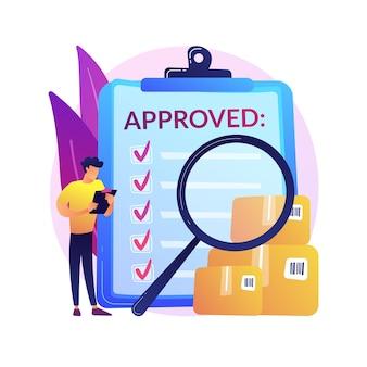 Ilustracja koncepcja abstrakcyjna kontroli jakości produktu. standard bezpieczeństwa produktu, opinie klientów, certyfikat gwarancyjny, linia produkcyjna, sukces biznesowy, inspekcja