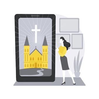 Ilustracja koncepcja abstrakcyjna kościoła online.