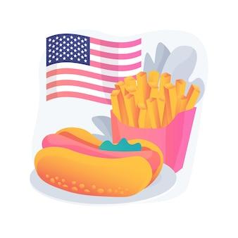 Ilustracja koncepcja abstrakcyjna kuchni amerykańskiej. restauracja amerykańskiej kuchni, typowe danie z grilla, fast food na wynos, tradycyjna kuchnia amerykańska, domowy przepis na grilla
