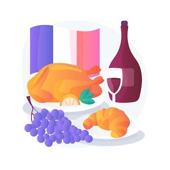 Ilustracja koncepcja abstrakcyjna kuchni francuskiej. klasyczna kuchnia europejska, wykwintna restauracja, francuska gastronomia, tradycja szkoły gotowania, menu szefa kuchni, wykwintne jedzenie