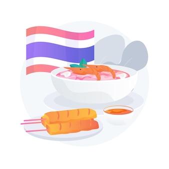 Ilustracja koncepcja abstrakcyjna kuchni tajskiej. tajskie tradycyjne jedzenie, menu restauracji kuchni orientalnej, pikantny smak tajlandii, przepis azjatycki, posiłek na wynos, targ dla smakoszy