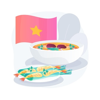 Ilustracja koncepcja abstrakcyjna kuchni wietnamskiej. wegetariańskie wietnamskie miejsce, przepis na sajgonki, orientalne menu restauracji, pikantne azjatyckie jedzenie, tradycyjna wietnamska kuchnia