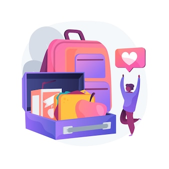 Ilustracja koncepcja abstrakcyjna lunch box dla dzieci. pomysł na lunch, zbilansowane odżywianie dzieci, zdrowa przekąska, zaopatrzenie szkolne, opieka nad rodzicami, szczelna izolowana torba, termos