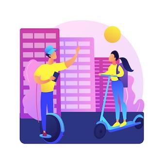 Ilustracja koncepcja abstrakcyjna miejskiego transportu elektrycznego. wypożyczanie rowerów elektrycznych, korzystanie z deskorolki escooter, nowoczesny styl życia w mieście, mobilność w mieście, zrównoważony transport.