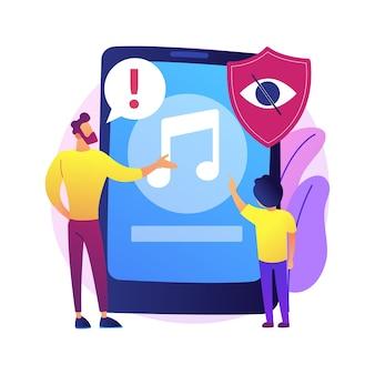 Ilustracja koncepcja abstrakcyjna muzyki doradczej rodzicielskiej. kontrola rodzicielska, treści dla dorosłych, etykieta ostrzegawcza, informacja pal, muzyka nieodpowiednia dla dzieci.