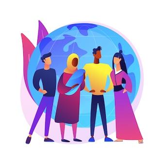 Ilustracja koncepcja abstrakcyjna narodowości. kraj urodzenia, paszport, krajowe zwyczaje i tradycje, status prawny, akt urodzenia, prawa człowieka i dyskryminacja.