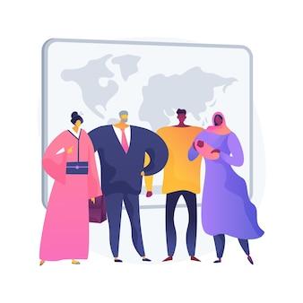 Ilustracja koncepcja abstrakcyjna narodowości. kraj urodzenia, paszport, zwyczaje i tradycje narodowe, status prawny, prawa człowieka i abstrakcyjna metafora dyskryminacji.