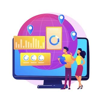 Ilustracja koncepcja abstrakcyjna obsługi klienta. wsparcie techniczne, telemarketing, obsługa klienta, oprogramowanie do zarządzania, czat online, centrum pomocy, infolinia dla kupujących