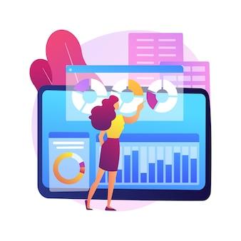 Ilustracja koncepcja abstrakcyjna oprogramowania do zarządzania innowacjami. zarządzanie pomysłami, narzędzie do burzy mózgów, kontrola innowacji, przestrzeń do współpracy, oprogramowanie do rozwoju biznesu.