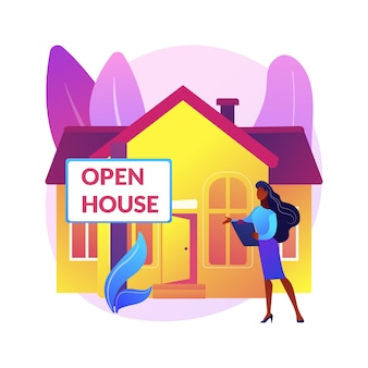 Ilustracja koncepcja abstrakcyjna otwartego domu. nieruchomość otwarta do wglądu, dom na sprzedaż, obsługa nieruchomości, potencjalny nabywca, przejście, inscenizacja domu, plan piętra.