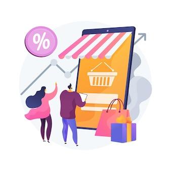 Ilustracja koncepcja abstrakcyjna popytu konsumentów. decyzja klienta, zakup produktu lub usługi, satysfakcja konsumenta, marketing detaliczny, cena rynkowa, społeczeństwo konsumpcyjne