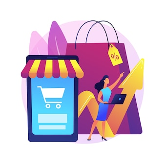 Ilustracja koncepcja abstrakcyjna popytu konsumentów. decyzja klienta, zakup produktu lub usługi, zadowolenie konsumenta, marketing detaliczny, cena rynkowa, społeczeństwo konsumpcyjne