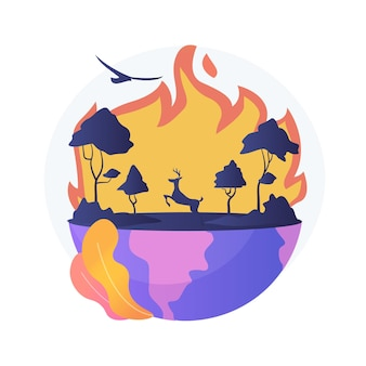 Ilustracja koncepcja abstrakcyjna pożarów. pożary lasów, gaszenie pożarów, pożary lasów, utrata dzikich zwierząt, skutki globalnego ocieplenia, klęska żywiołowa, wysoka temperatura
