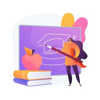 Ilustracja koncepcja abstrakcyjna programu nauczania. program nauczania w domu, przedmioty w szkołach podstawowych i ponadpodstawowych, kształcenie, plan nauczania, przegląd programów nauczania, treści kursów akademickich