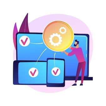 Ilustracja koncepcja abstrakcyjna rozwoju międzyplatformowego. wieloplatformowe systemy operacyjne, kompatybilne środowiska oprogramowania, wrażenia użytkownika aplikacji mobilnych, pisanie kodu.