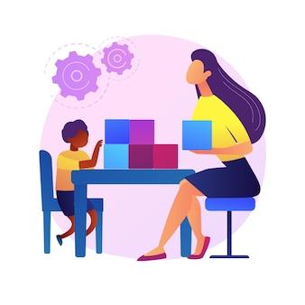 Ilustracja koncepcja abstrakcyjna rozwoju społeczno-emocjonalnego. trening przedszkolny, rozwój umiejętności społecznych we wczesnym dzieciństwie, zarządzanie emocjonalne, abstrakcyjna metafora aktywności szkoleniowej dzieci.