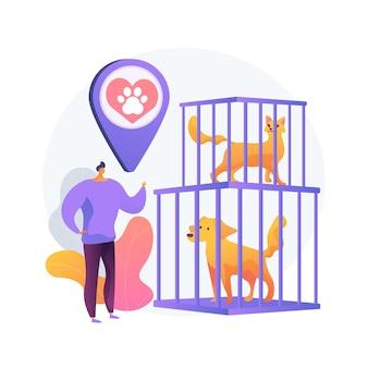 Ilustracja koncepcja abstrakcyjna schroniska dla zwierząt. ratowanie zwierząt, proces adopcji zwierząt domowych, wybór przyjaciela, ratowanie przed znęcaniem się, darowizny, pomoc w schronisku, organizacja wolontariatu