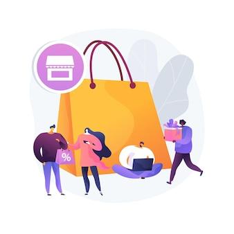 Ilustracja koncepcja abstrakcyjna społeczeństwa konsumenckiego. konsumpcja towarów i usług, kompulsywny zakup, zakupoholiczka, rynek detaliczny, nawyki klientów, aplikacja detaliczna online