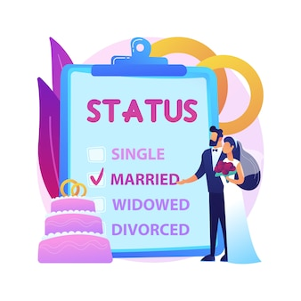 Ilustracja koncepcja abstrakcyjna stanu cywilnego. stan cywilny, związek międzyludzki, samotny żonaty, checkbox, stan cywilny, obrączki ślubne, małżeństwo, rozwiedziona owdowiała.
