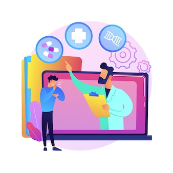 Ilustracja koncepcja abstrakcyjna telezdrowia. wirtualna opieka medyczna, zdalne przyjęcie, porady lekarskie, wizyta telezdrowia, blokada pandemii koronawirusa, dystans społeczny.