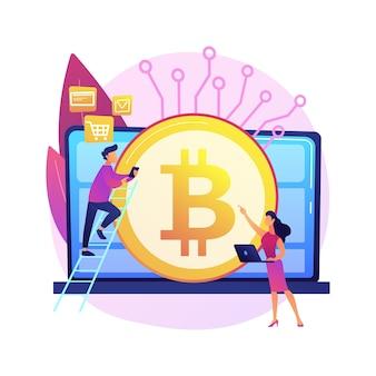 Ilustracja koncepcja abstrakcyjna waluty cyfrowej. kapitalizacja rynkowa kryptowalut, waluta elektroniczna, przelew pieniądza elektronicznego, obrót pieniądzem cyfrowym, usługa transferowa.