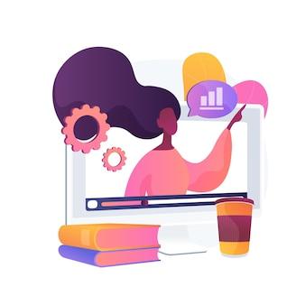 Ilustracja koncepcja abstrakcyjna warsztatów online. warsztaty e-learningowe, wspólne działania, uzyskanie certyfikatu online, bezpłatna edukacja online