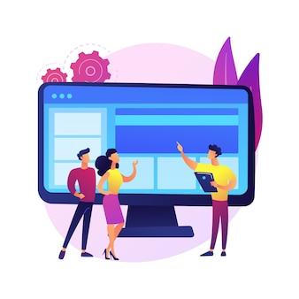 Ilustracja koncepcja abstrakcyjna witryny firmowej. oficjalna strona internetowa firmy, reprezentacja biznesu online, strona wizji firmy, tworzenie stron internetowych, usługi projektowania graficznego.