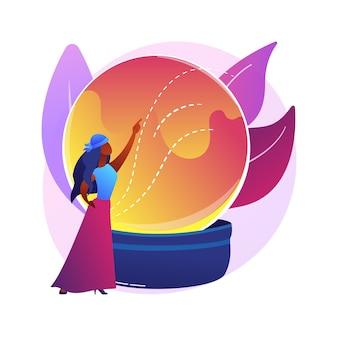 Ilustracja koncepcja abstrakcyjna wróżenia. wróżka online, usługi czytania tarota, przewidywanie przyszłości kryształowej kuli, specjalista numerologii, praktyka chiromancji.