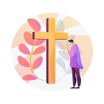 Ilustracja koncepcja abstrakcyjna wydarzenia chrześcijańskiego. chrześcijańskie święto, kalendarz dat religijnych, wydarzenie baptystów, spotkanie kościelne, niedzielna msza, festiwal muzyczny, pielgrzymka