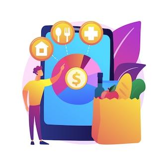 Ilustracja koncepcja abstrakcyjna wydatków konsumpcyjnych. wydatki konsumenckie, budżet domowy, centrum handlowe, karta kredytowa, sklep detaliczny, zakupoholiczka, kompulsywny zakup