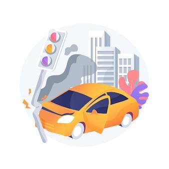 Ilustracja koncepcja abstrakcyjna wypadku drogowego