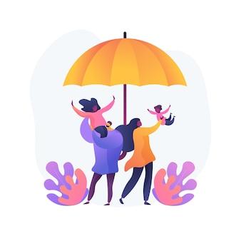 Ilustracja koncepcja abstrakcyjna zabezpieczenia społecznego. świadczenie z ubezpieczenia społecznego, zasiłek państwowy, ubezpieczenie emerytalne, szczęśliwa osoba niepełnosprawna, para starszych, starszych, podpisanie umowy
