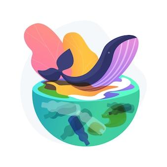 Ilustracja koncepcja abstrakcyjna zanieczyszczenia wody. zanieczyszczenie wód, zapobieganie zanieczyszczaniu oceanów, wpływ na środowisko, degradacja systemu rzecznego, nielegalne składowanie odpadów